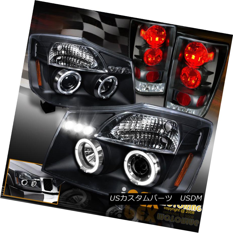 ヘッドライト For 2004-2014 Nissan Titan Black Halo Projector LED Headlight + Tail Light Black 2004年?2014年Nissan Titan Black HaloプロジェクターLEDヘッドライト+テールライトブラック