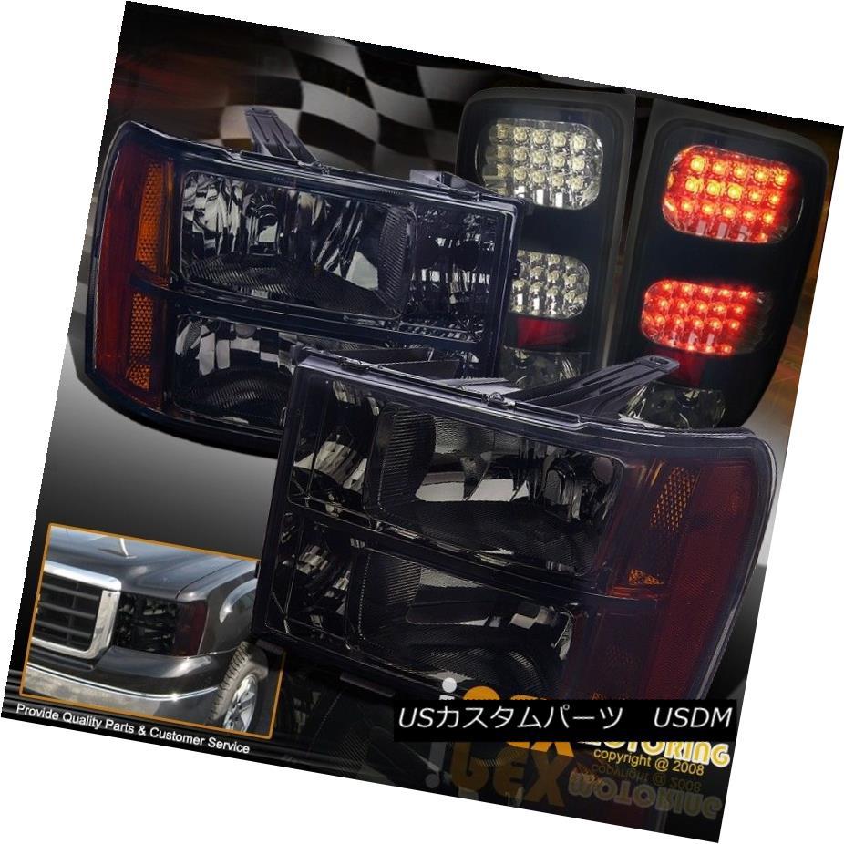 ヘッドライト BLACKOUT 2007-2013 GMC Sierra 1500 2500HD Smoke Headlight + LED Tail Lights NEW BLACKOUT 2007-2013 GMC Sierra 1500 2500HDスモークヘッドライト+ LEDテールライトNEW