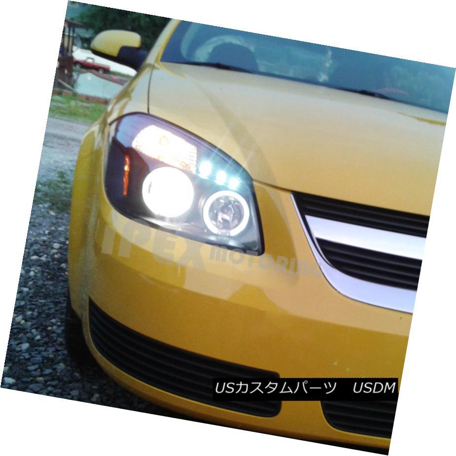 ヘッドライト 2005-2010 Chevy Cobalt Pontiac G5 Pursuit Halo Projector LED Headlights Black 2005-2010シボレーコバルトポンティアックG5追求ハロープロジェクターLEDヘッドライトブラック