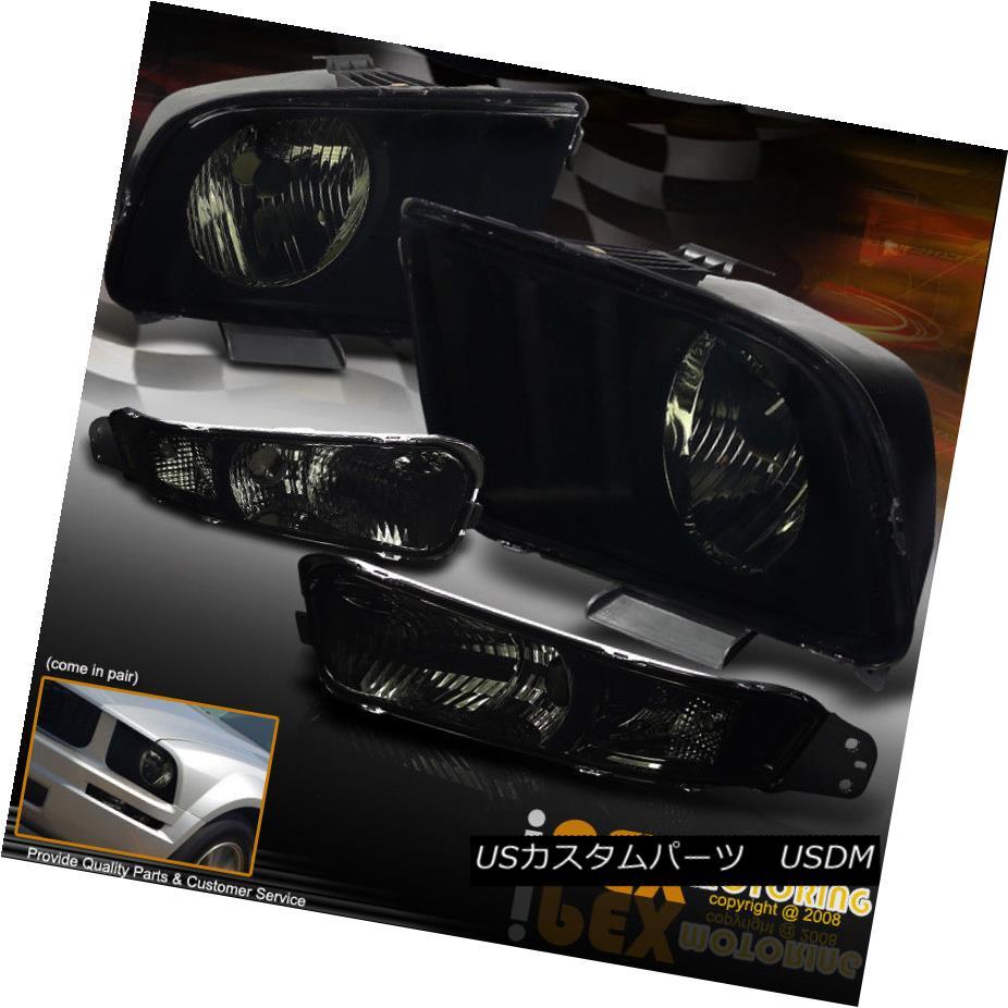 ヘッドライト NEW For 2005-2009 Ford Mustang GT Smoke Headlights + Smoke Bumper Signal Light NEW 2005-2009 Ford Mustang GTスモークヘッドライト+スモークバンパーシグナルライト