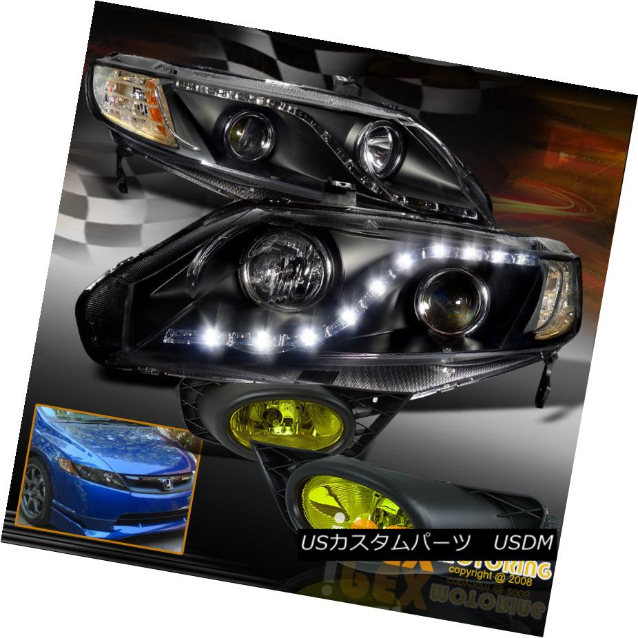 ヘッドライト (Bright LEDs) 2009 2010 2011 Honda Civic 4Dr Projector Black Headlight+Fog Light (明るいLED)2009年2010年ホンダシビック4Drプロジェクターブラックヘッドライト+フォグライト