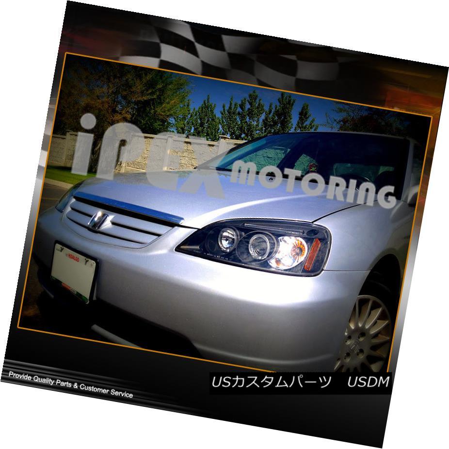 ヘッドライト Hot New 2001 2002 2003 Honda Civc Coupe/Sedan Halo Projector LED Headlight Black Hot New 2001 2002 2003 Honda Civic Coupe / Sedan HaloプロジェクターLEDヘッドライトブラック