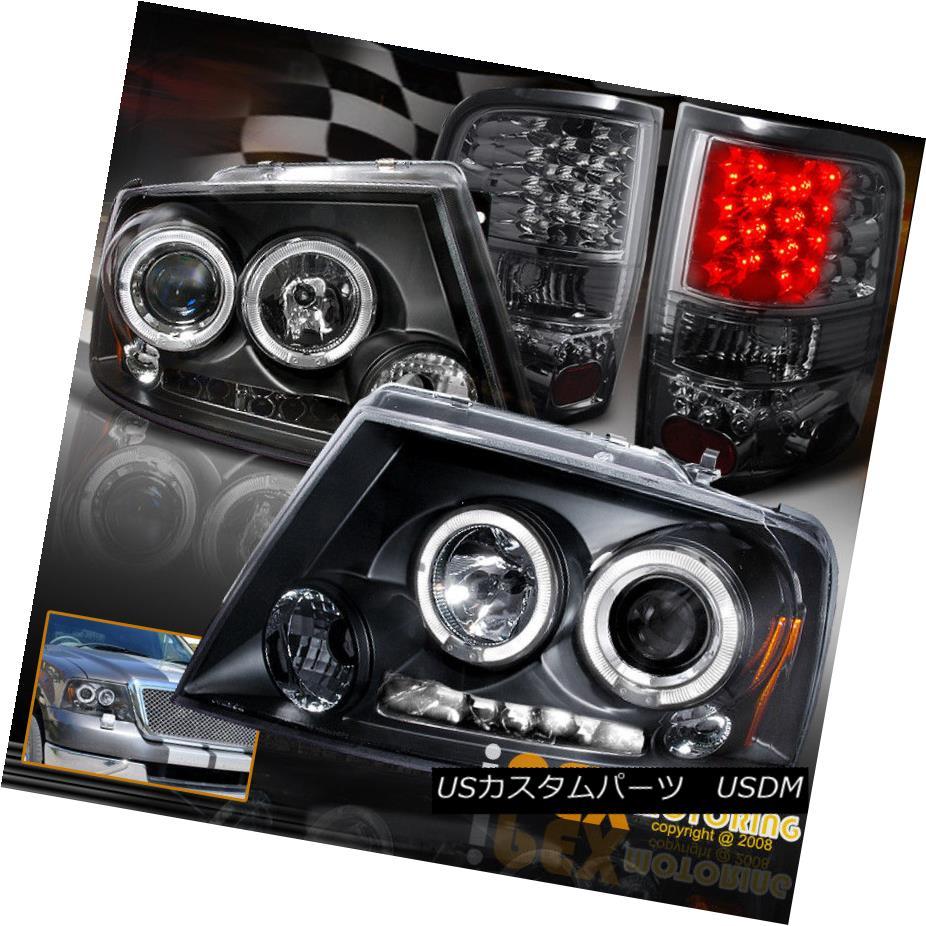 ヘッドライト 2004-2005 Ford F150 F-150 Halo Projector Black Headlights + Smoke LED Tail Light 2004-2005フォードF150 F-150ハロープロジェクターブラックヘッドライト+スモークLEDテールライト