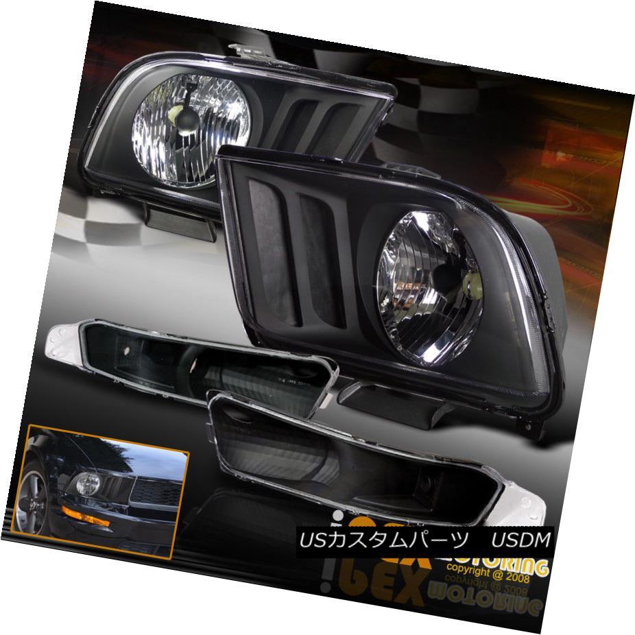 ヘッドライト For 2005-2009 Ford Mustang GT Coupe V6 Black Headlights + Bumper Signal Light 2005-2009フォードマスタングGTクーペV6ブラックヘッドライト+バンパーシグナルライト