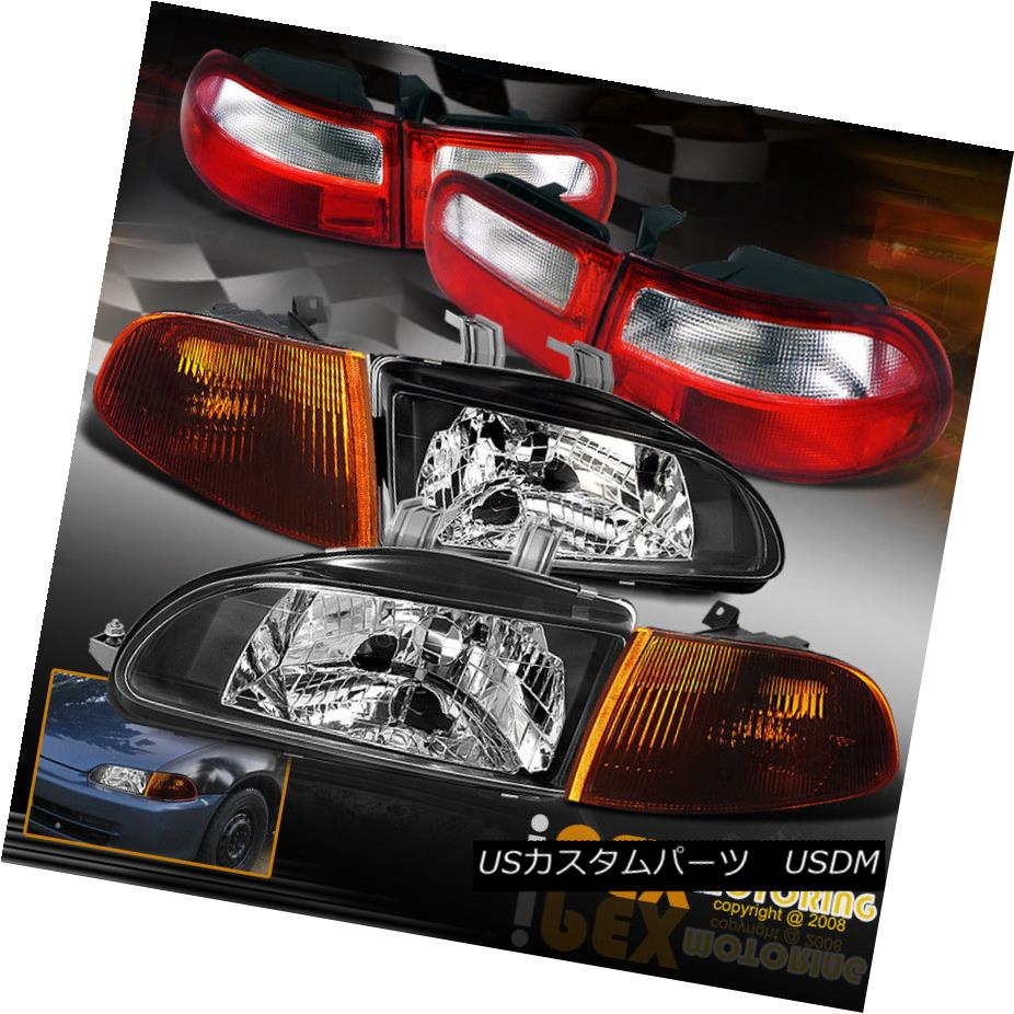 ヘッドライト 1992-1995 Honda Civic HATCHBACK JDM BLACK Headlights+Smoke Corner+Tail Lights EG 1992-1995 Honda Civic HATCHBACK JDM BLACKヘッドライト+スモーキー keコーナー+テールライトEG