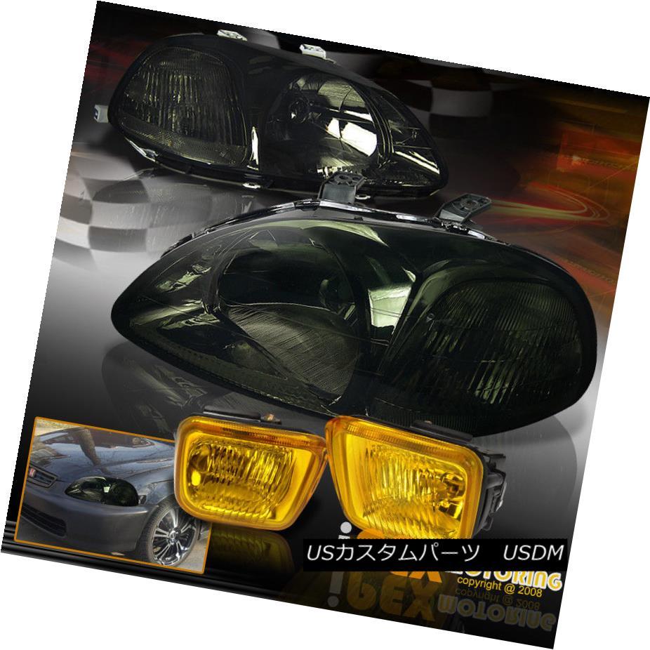 ヘッドライト For 1996-1998 Honda Civic EK JDM Style Smoke Headlights With Yellow ?Fog Lights 1996-1998 Honda Civic EK JDMスタイルスモークヘッドライト(黄色)Fog Lights