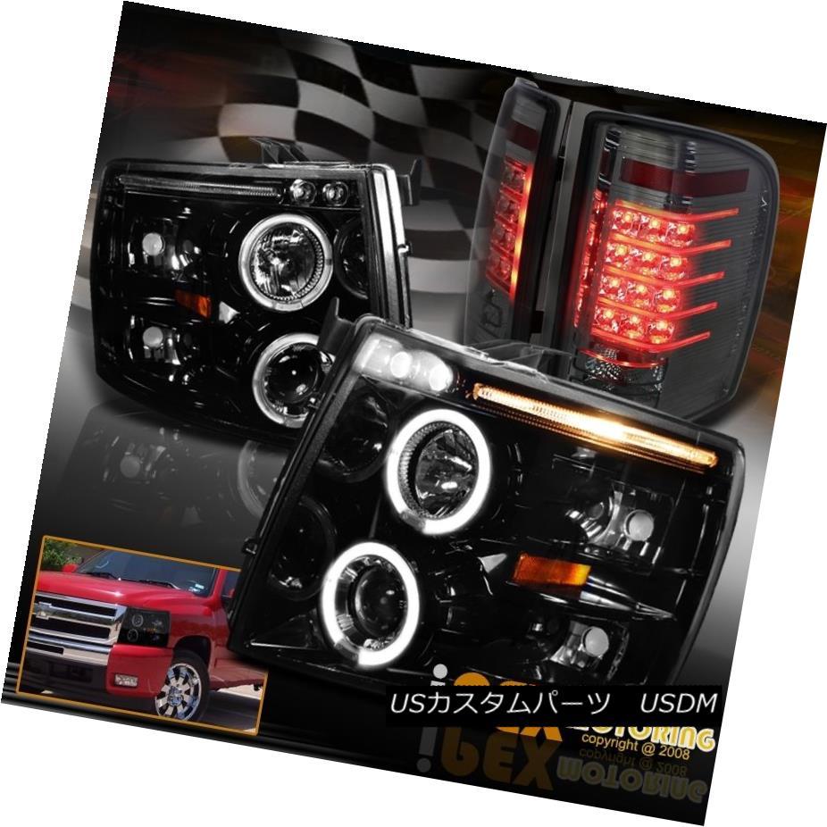 ヘッドライト Chevy Silverado 1500/2500HD Halo Projector Black Headlights+LED Tail Light Smoke Chevy Silverado 1500 / 2500HDハロープロジェクターブラックヘッドライト+ LEDテールライトスモーク