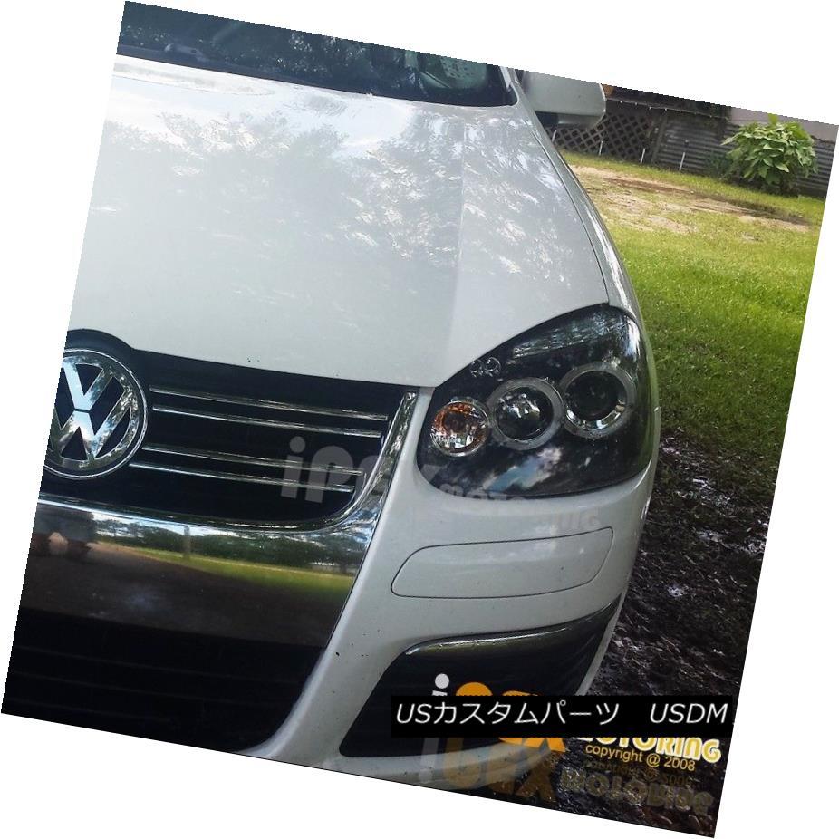 ヘッドライト 2006-2008 VW MK5 Jetta Golf Rabbit [SMOKED-BLACK] Halo Projector LED Headlight 2006-2008 VW MK5ジェッタゴルフウサギ[SMOKED-BLACK]ハロープロジェクターLEDヘッドライト