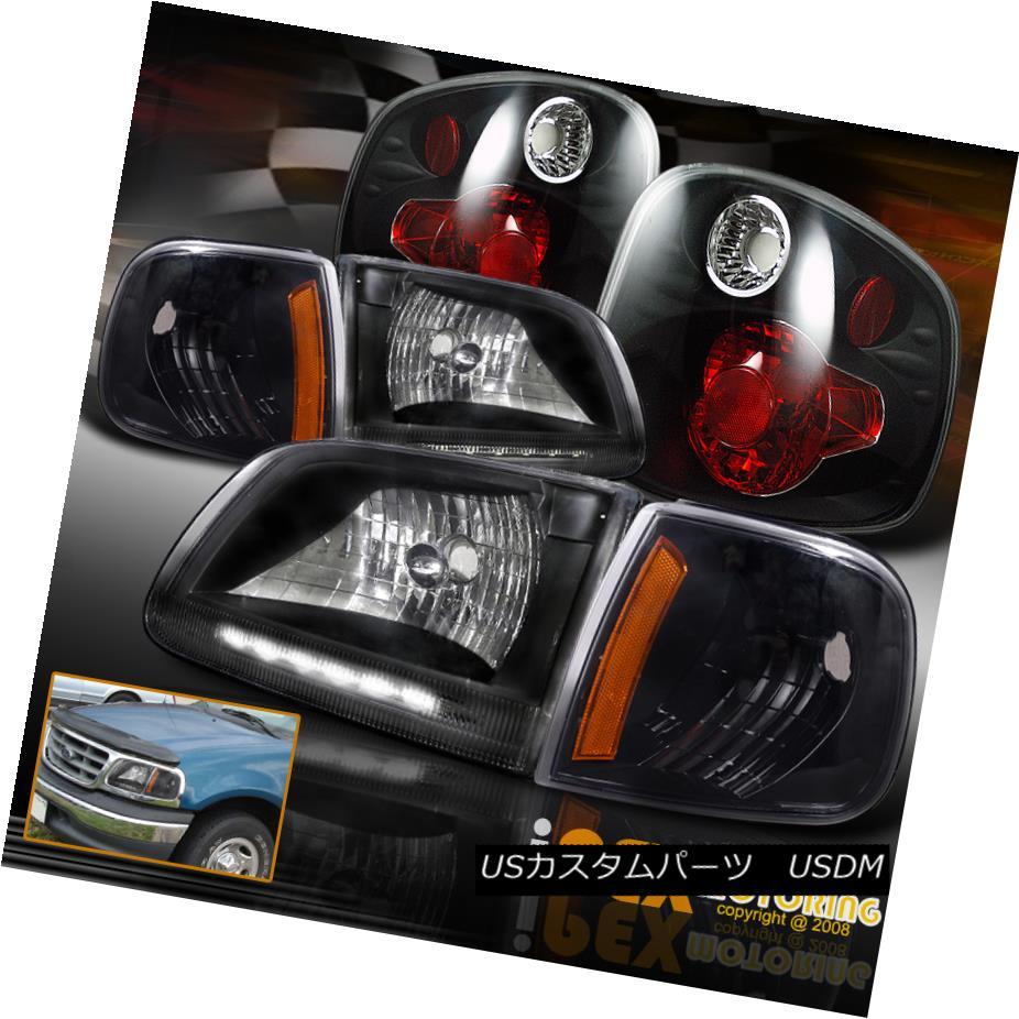 ヘッドライト 2001-2003 Ford F150 King Ranch SVT Lightning LED Headlights + Tail Lights Black 2001-2003フォードF150キングランチSVTライトニングLEDヘッドライト+テールライトブラック