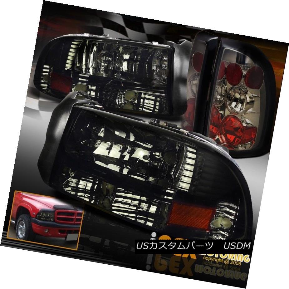 ヘッドライト NEW For 1997-2004 Dodge Dakota SHINY SMOKE Headlights W/ Smoke Euro Tail Lights NEW 1997-2004 Dodge Dakota SHINY SMOKEヘッドライトW / Smokeユーロテールライト