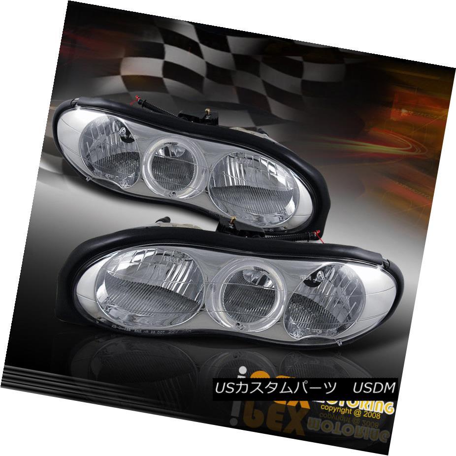 ヘッドライト Chrome LED Angel Eye Halo Head Light Lamps For 98-02 Chevy Camaro Base / Z28 クロムLED天使の目ハローヘッドライトランプ98-02シボレーカマロベース/ Z28
