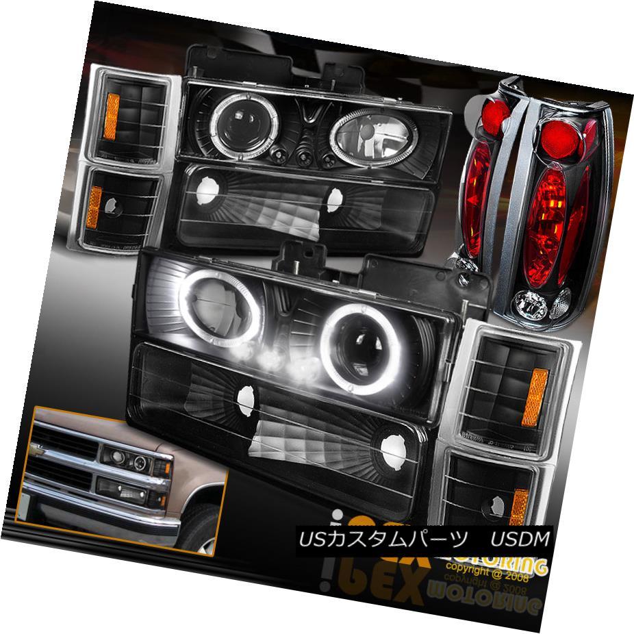 ヘッドライト 94-98 Chevy Silverado [10Pcs] Projector Dual Halo Black LED Headlight+Tail Light 94-98シボレーシルバラード[10個]プロジェクターデュアルハローブラックLEDヘッドライト+テールライト
