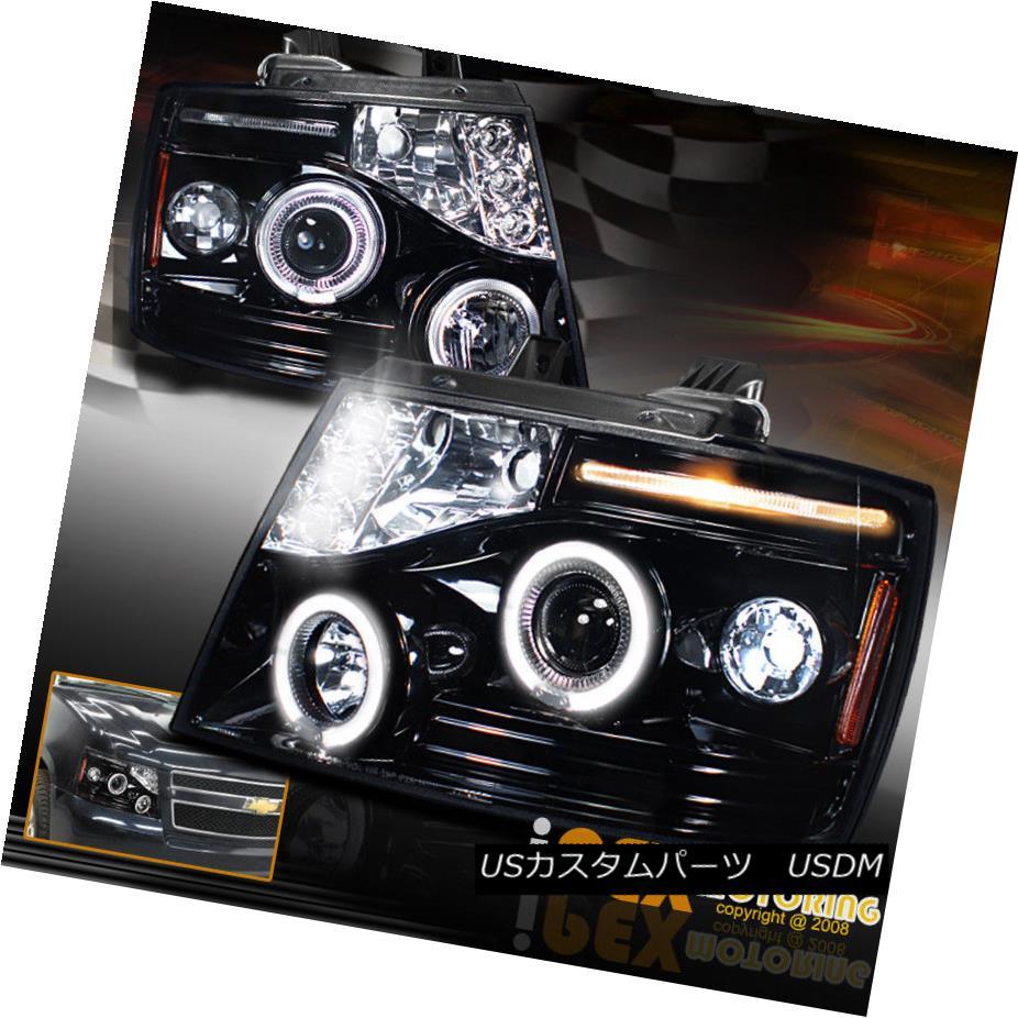 ヘッドライト 07-14 Chevy Suburban Tahoe Avalanche Halo Projector LED Headlights Shiny Black 07-14シボレー郊外タホアバランシェヘイロープロジェクターLEDヘッドライトシャイニーブラック