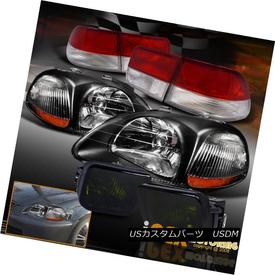 ヘッドライト 1996-1998 Honda Civic EK JDM Black Headlights + Smoke Fog Light Kit + Tail Light 1996-1998ホンダシビックEK JDMブラックヘッドライト+スモークフォグライトキット+テールライト