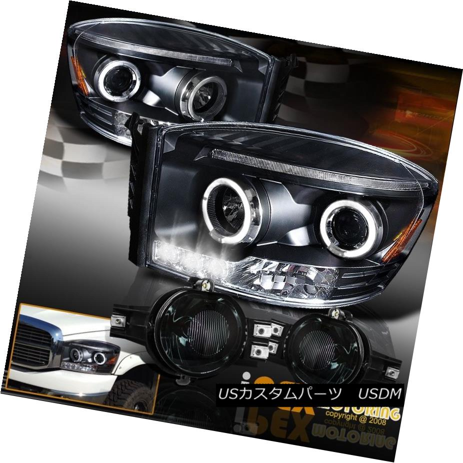 車用品 バイク用品 >> パーツ ライト ランプ ヘッドライト 2006-2008 Dodge RAM 1500 2500 Headlight+Smoke Halo LED 2500ハロープロジェクターLEDブラックヘッドライト+スモーク Light Projector Fog 2006-2008ダッジRAM お洒落 Black 販売実績No.1 eフォグライト