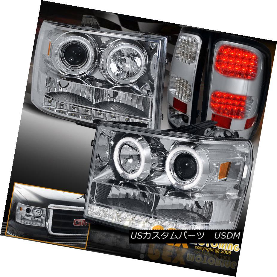ヘッドライト 2007-2013 GMC Sierra 1500/2500HD Halo Projector Chrome Headlights+LED Tail Light 2007-2013 GMC Sierra 1500 / 2500HDハロープロジェクタークロームヘッドライト+ LEDテールライト