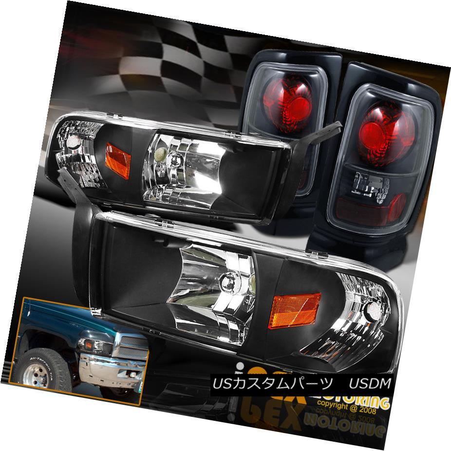 ヘッドライト For 1994-2001 Dodge Ram 1500 2500 3500 Headlights W/ Signals + Tail Lights Black 1994-2001 Dodge Ram 1500 2500 3500ヘッドライトW /信号+テールライトブラック