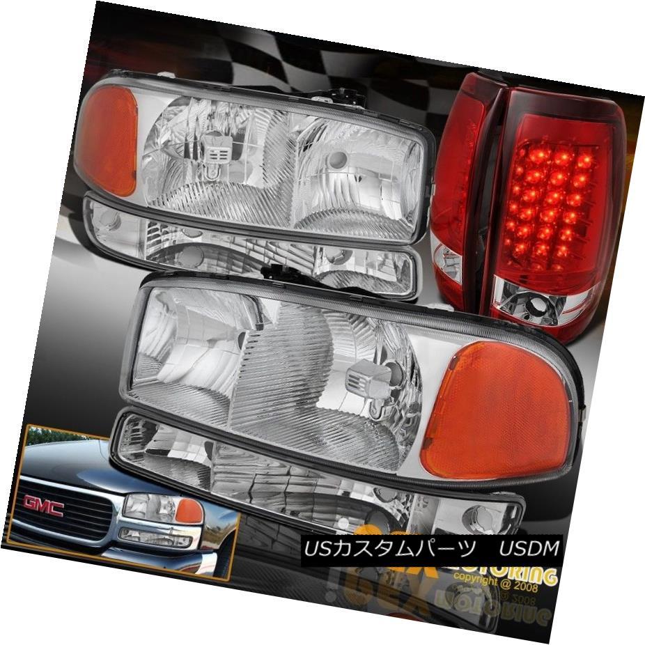 ヘッドライト For 1999-2003 GMC Sierra Chrome Headlight + Signals + Bright LED Tail Light Red 1999-2003 GMC Sierra Chromeヘッドライト+信号+明るいLEDテールライトレッド