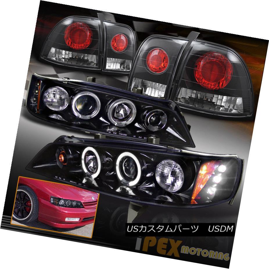 ヘッドライト 1996-1997 Honda Accord Halo Projector [Smoked-Black] Headlights W/ Tail Lights 1996-1997 Honda Accord Haloプロジェクター[スモークブラック]ヘッドライトW /テールライト