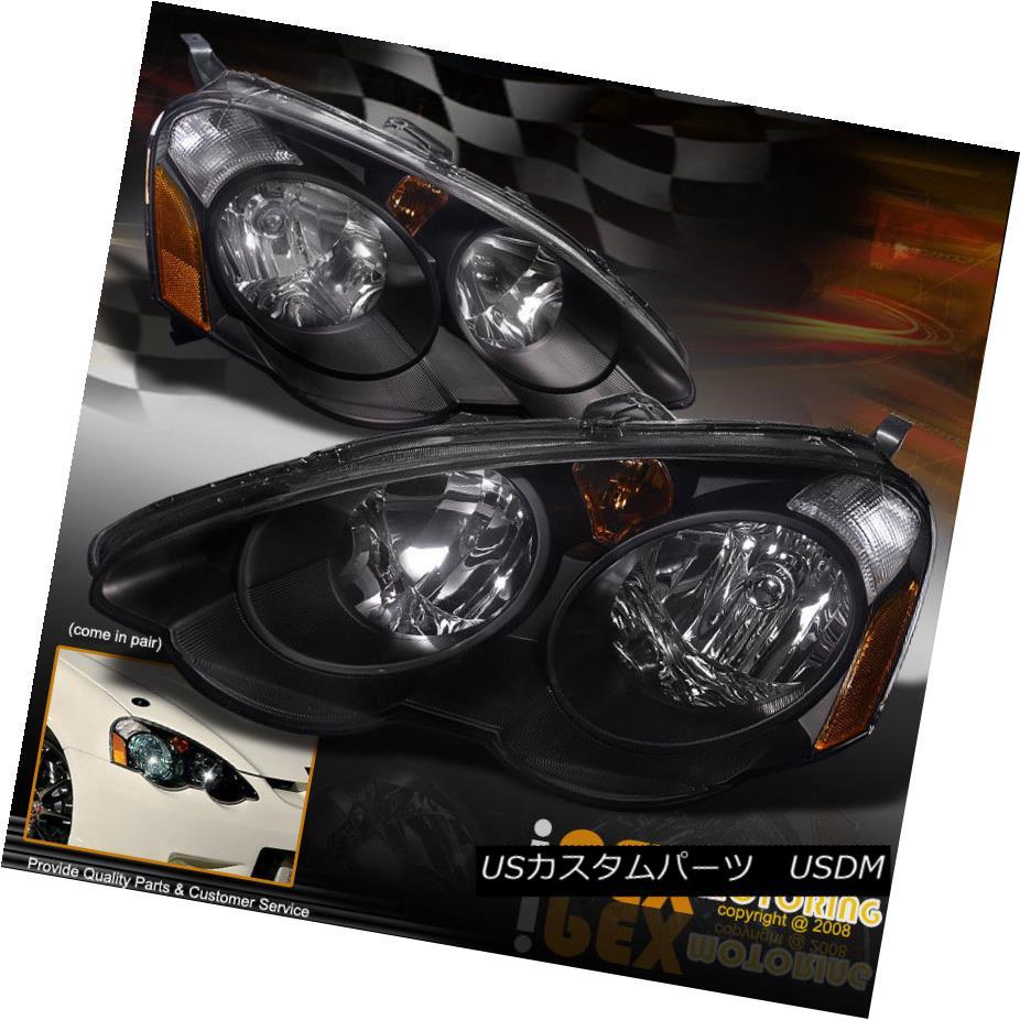 ヘッドライト NEW For All 2002-2004 Acura RSX DC5 JDM Type R Style Black Headlights Headlamps NEWすべての2002-2004 Acura RSX DC5 JタイプRスタイルブラックヘッドライトヘッドランプ