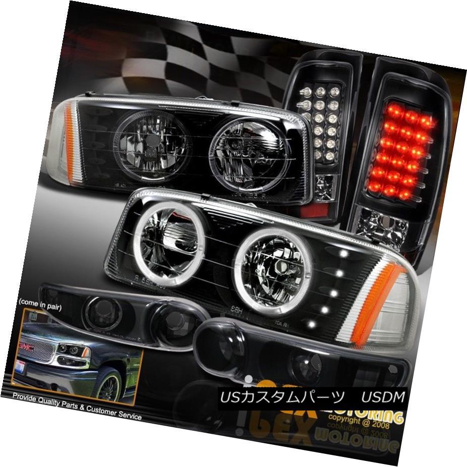 ヘッドライト Black Combo: 2004-2006 GMC Sierra Denali LED Halo Head Light W/ LED Tail Lamps ブラックコンボ:2004-2006 GMC Sierra Denali LEDハローヘッドライトW / LEDテールランプ