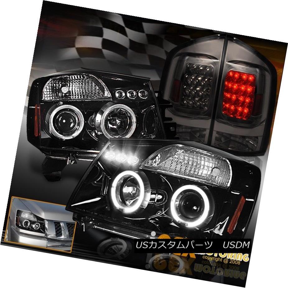 ヘッドライト For 05-07 Nissan Armada Halo Projector Shiny Black Headlights + LED Tail Lights 05-07日産アルマダヘイロープロジェクターシャイニーブラックヘッドライト+ LEDテールライト