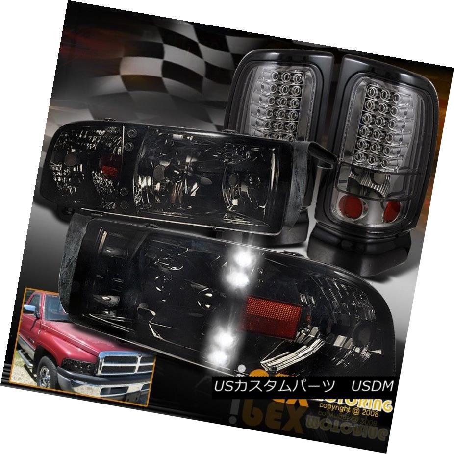 ヘッドライト 94-01 Dodge Ram 1500 2500 Shiny Smoke LED DRL Headlights + LED Smoked Tail Light 94-01 Dodge Ram 1500 2500シャイニー・スモークLED DRLヘッドライト+ LEDスモークテール・ライト