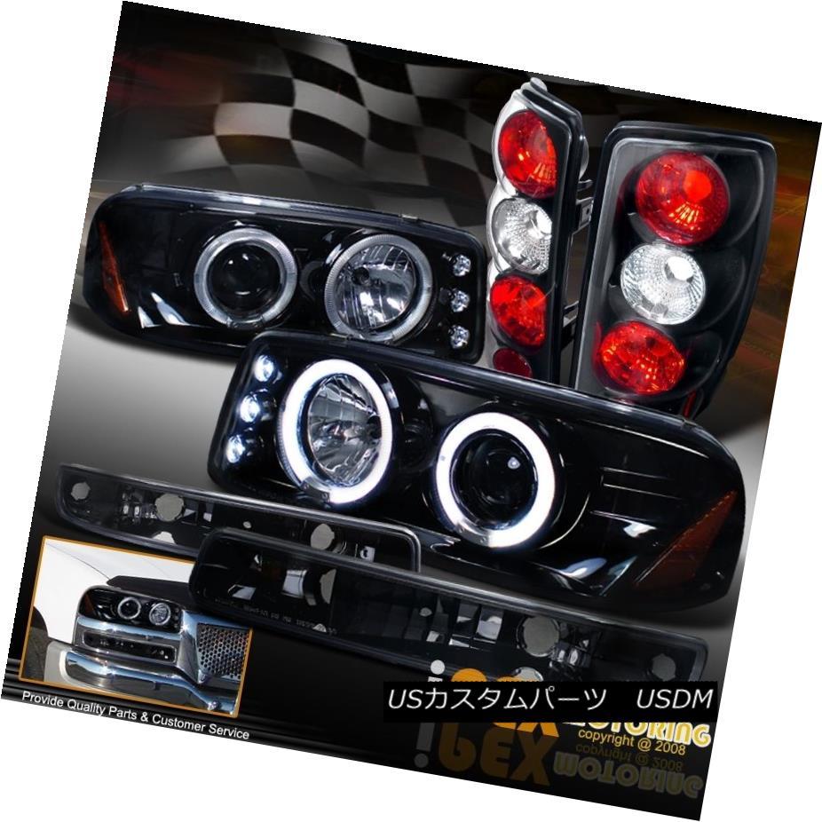 ヘッドライト 2002-2006 GMC Yukon Projector Shiny Piano Black Halo Headlight Set + Tail Light 2002-2006 GMCユーコンプロジェクターシャイニーピアノブラックハローヘッドライトセット+テールライト
