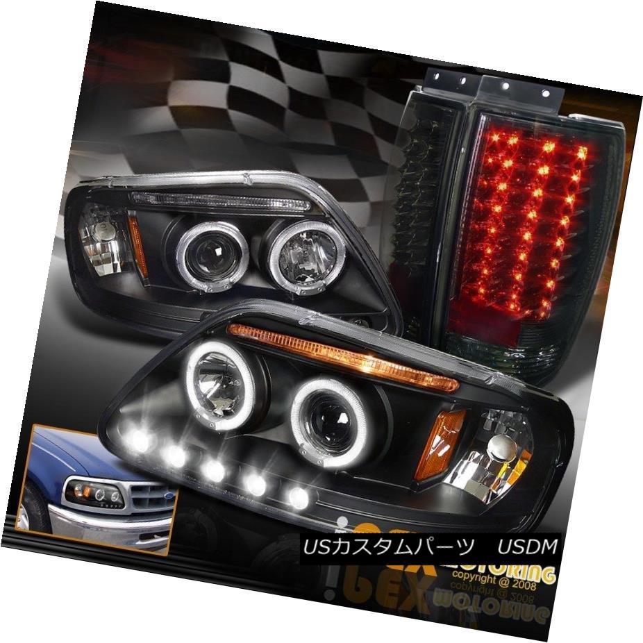 ヘッドライト 97-02 Ford Expedition Halo Black Headlight + LED Tail Light In Charcoal Smoke 97-02フォード遠征ヘイローブラックヘッドライト+ LEDテールライトチャコールスモーク