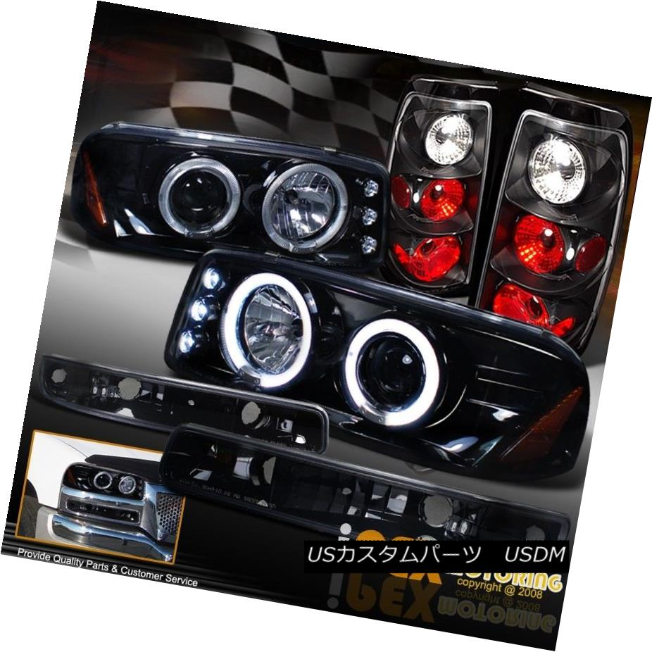 ヘッドライト 2004-2006 GMC Sierra Halo Projector GLOSS JET BLACK LED Headlights + Tail Light 2004-2006 GMC Sierra HaloプロジェクターGLOSS JET BLACK LEDヘッドライト+テールライト