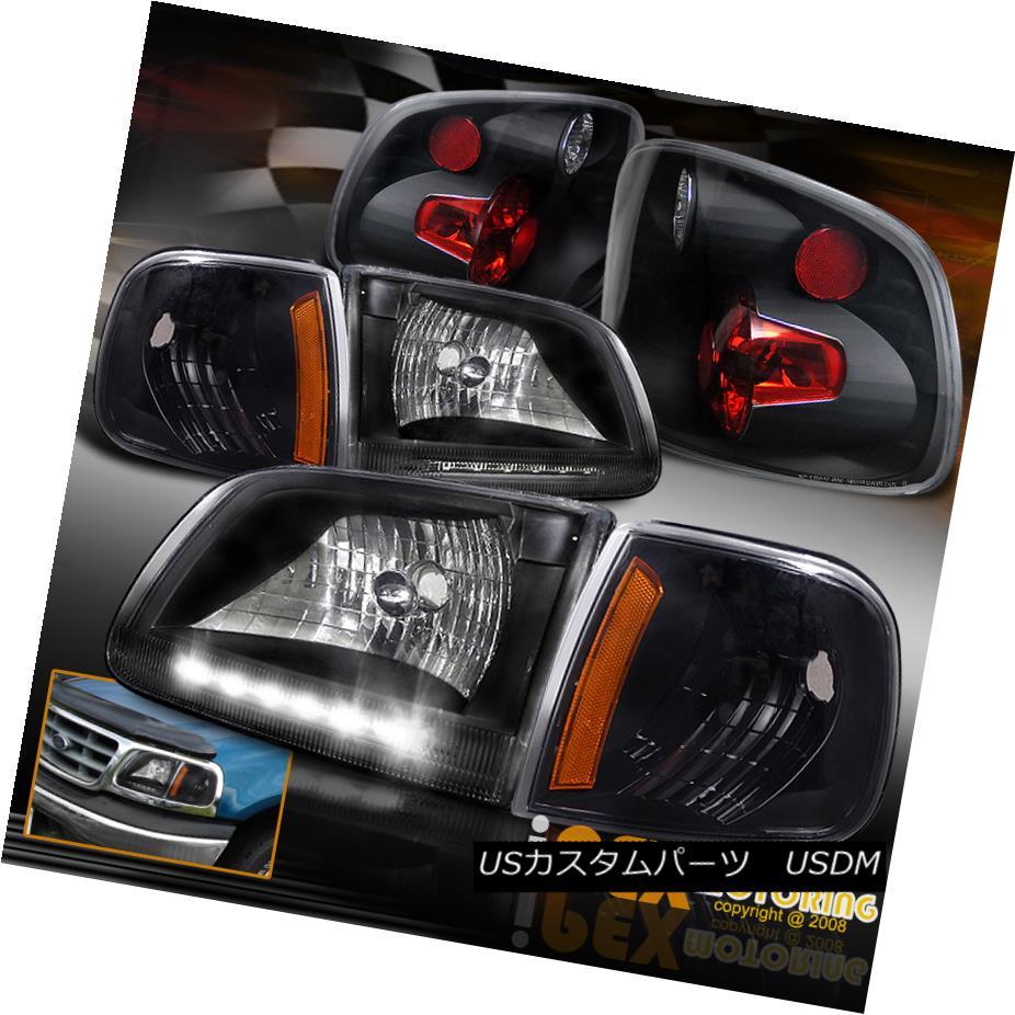 ヘッドライト 1997-2000 Ford F150 SUPERCREW Flare-Side LED Black Headlighst+Signals+Tail Light 1997-2000 Ford F150 SUPERCREWフレアサイドLEDブラックヘッドライト+ Sig  nals +テールライト