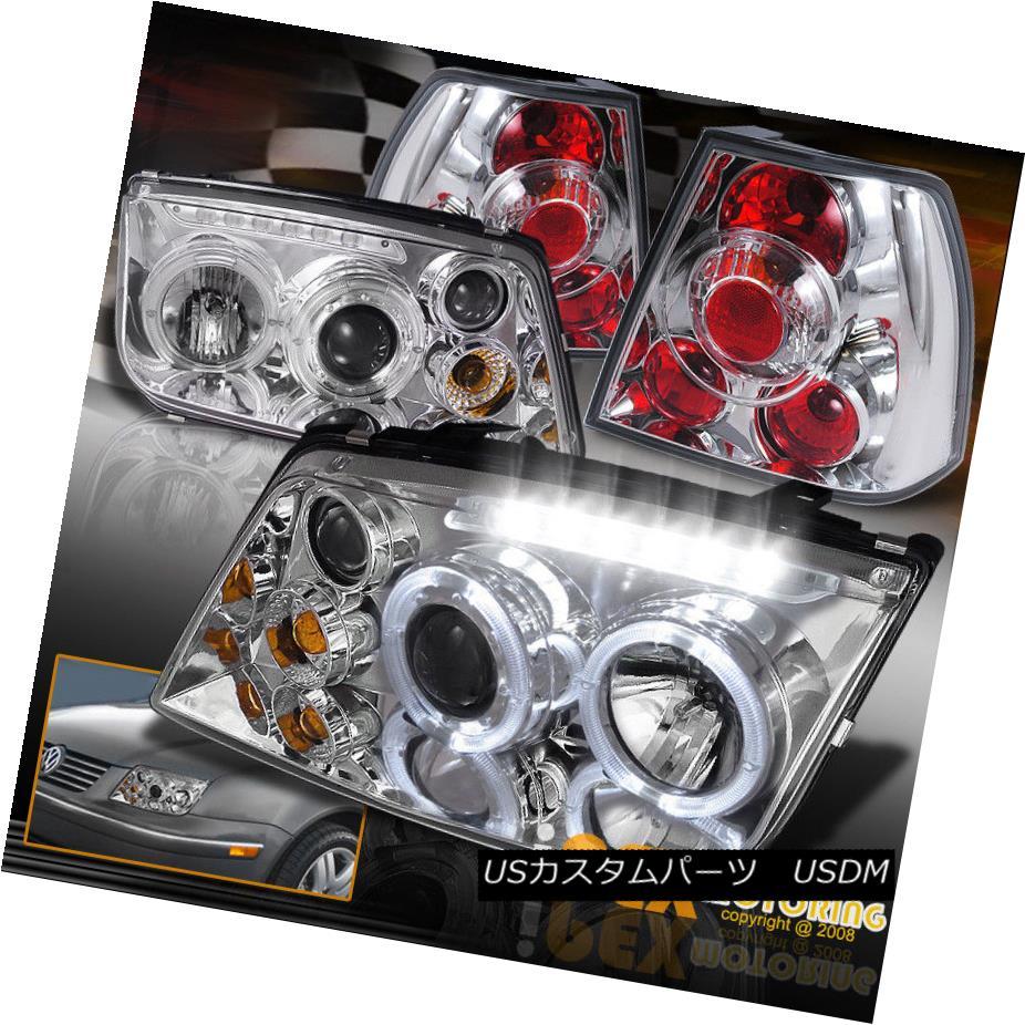 ヘッドライト VOLKSWAGEN VW Jetta MK4 MK-4 Halo Projector LED Chrome Headlights + Tail Lights フォルクスワーゲンVWジェッタMK4 MK-4ハロープロジェクターLEDクロームヘッドライト+テールライト