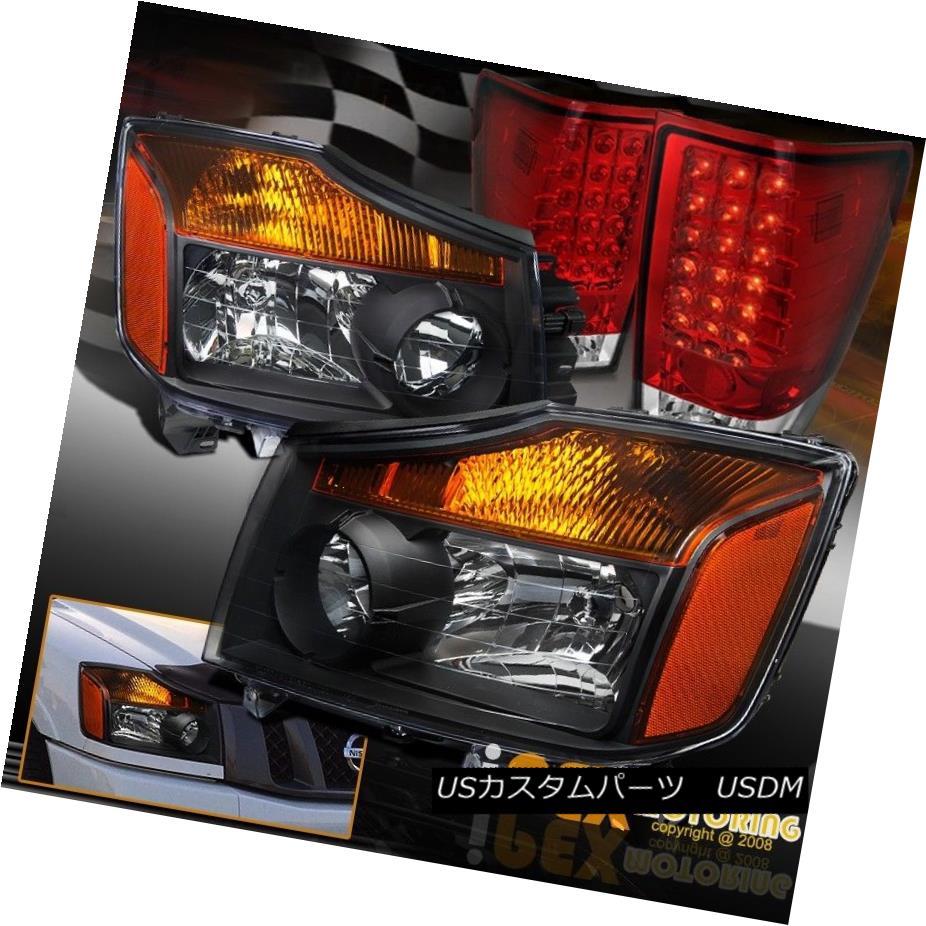 ヘッドライト For All 2004-2014 Nissan Titan Black Headlights + Bright LED Red Tail Light すべての2004?2014日産タイタンブラックヘッドライト+ブライトLEDレッドテールライト