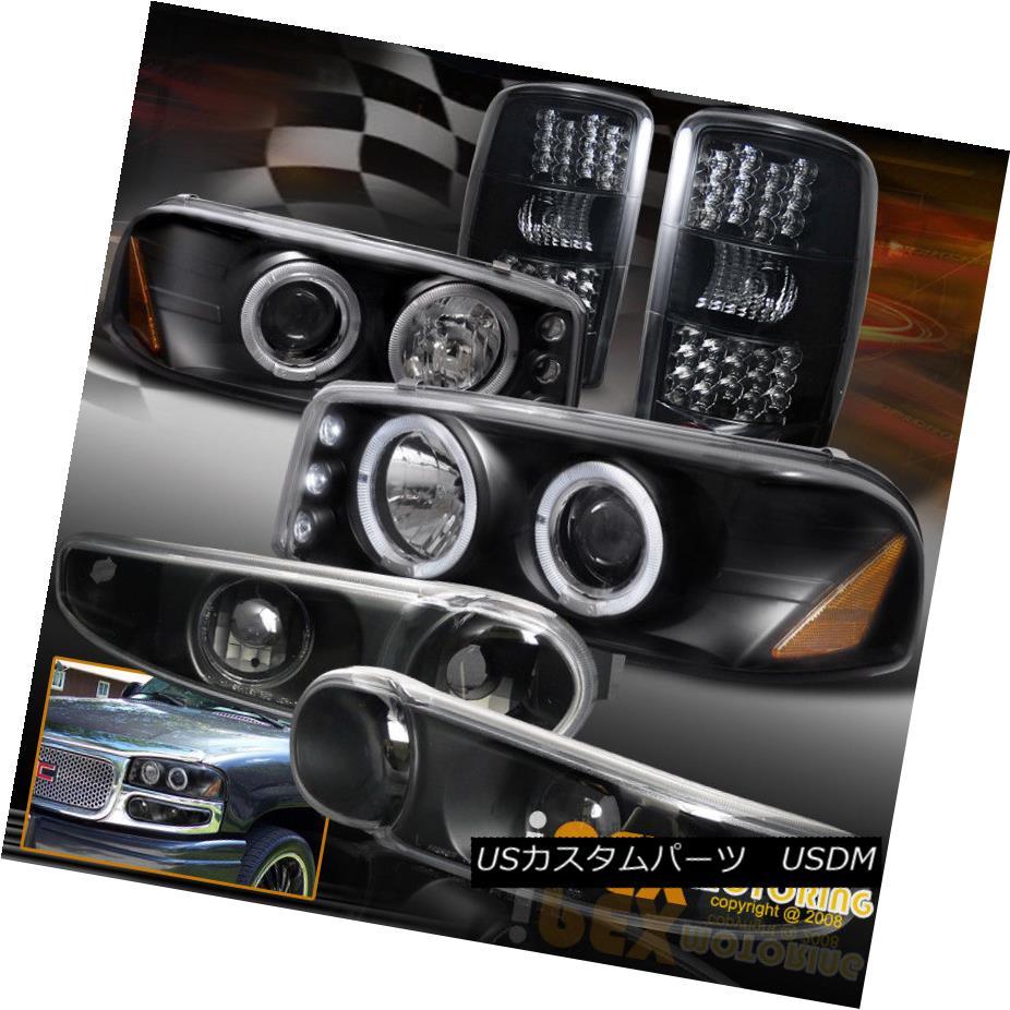ヘッドライト 2000-2006 GMC DENALI Dark Smoke LED Tail Light + Halo Projector Black Headlights 2000-2006 GMC DENALIダークスモークLEDテールライト+ハロープロジェクターブラックヘッドライト