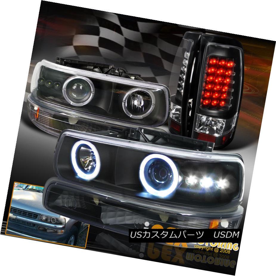 ヘッドライト 1999-2002 Chevy Silverado Projector Head Light W/ Signals + LED Tail Lamp Black 1999-2002シボレーシルバラードプロジェクターヘッドライトW /信号+ LEDテールランプブラック