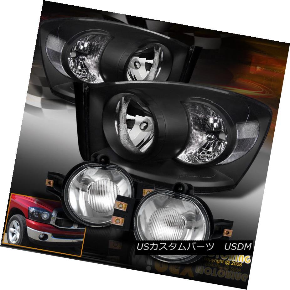 ヘッドライト For 2006 2007 2008 Dodge Ram 1500 2500 3500 Black Headlights + Fog Light Kit 2006年2007年2008年Dodge Ram 1500 2500 3500ブラックヘッドライト+フォグライトキット