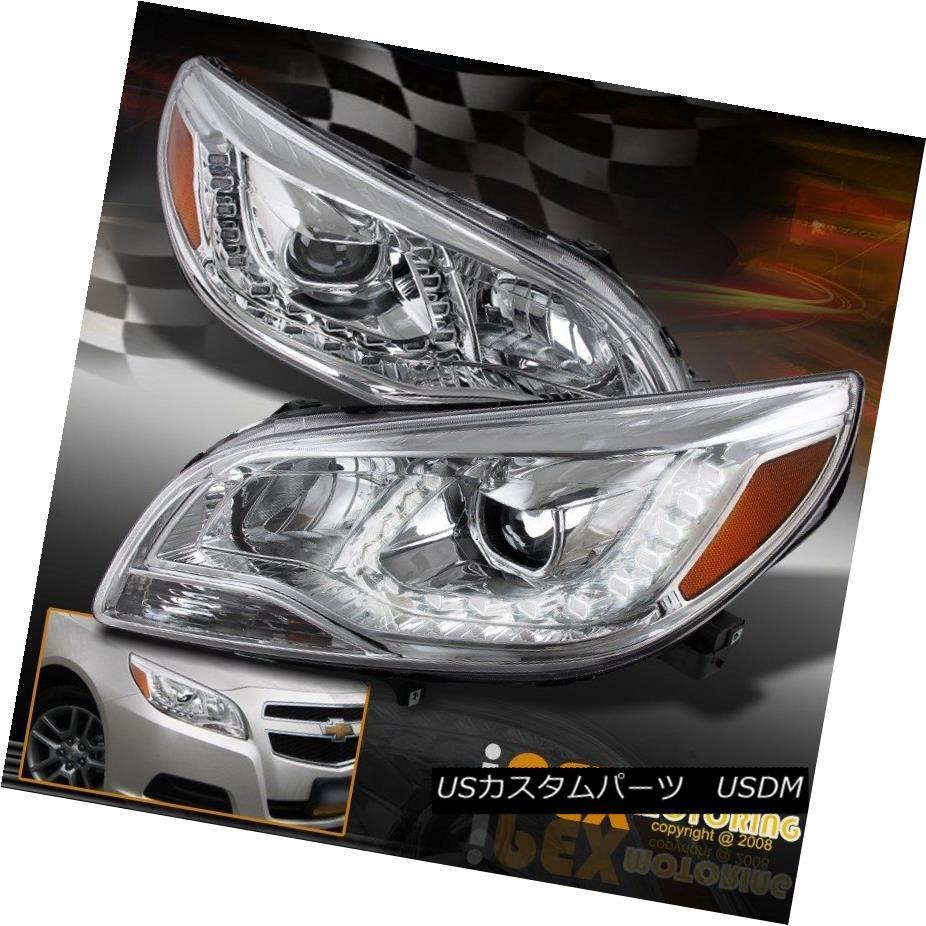 ヘッドライト *U-LED DRL Bar* 2013 2014 2015 Chevy Malibu 4Dr Sedan Projector Chrome Headlight * U-LED DRLバー* 2013 2014 2015シボレーマリブ4Drセダンプロジェクタークロームヘッドライト