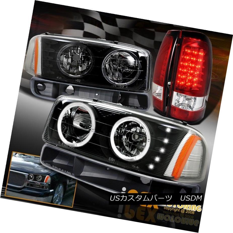 ヘッドライト GMC 04 05 06 Sierra 1500 2500 Halo Black Headlight W/Signal + LED Red Tail Light GMC 04 05 06 Sierra 1500 2500ハローブラックヘッドライトW /信号+ LEDレッドテールライト