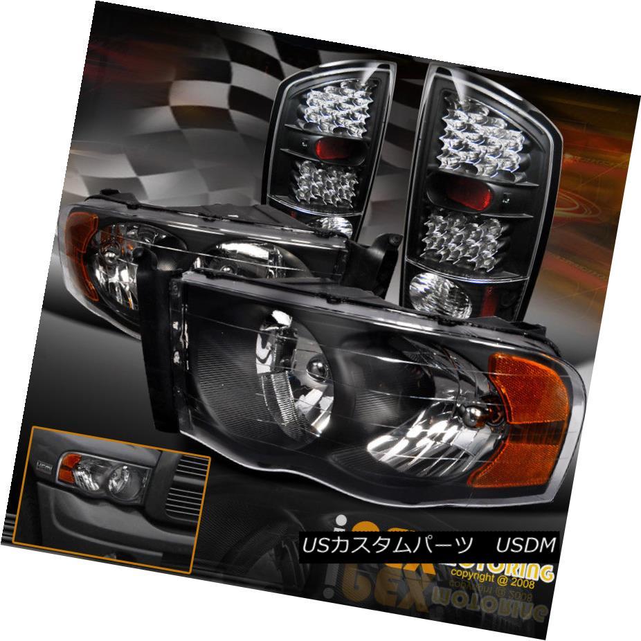 ヘッドライト Dodge 02-05 Ram 1500 2500 3500 Black Headlights W/ Ultra Bright LED Tail Light ドッジ02-05 Ram 1500 2500 3500ブラックヘッドライトW /ウルトラブライトLEDテールライト