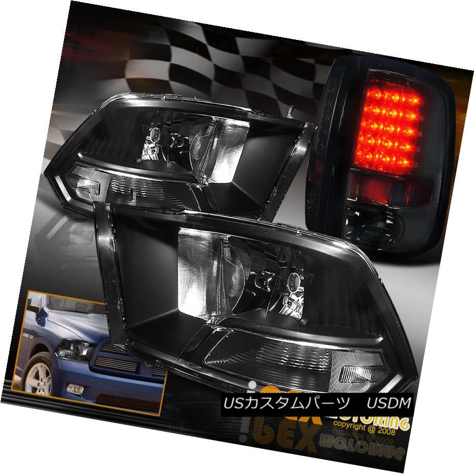 ヘッドライト For 2009-2016 Dodge Ram 1500 2500 3500 Black Headlights W/ LED Smoke Tail Light 2009-2016 Dodge Ram 1500 2500 3500ブラックヘッドライトW / LEDスモークテールライト