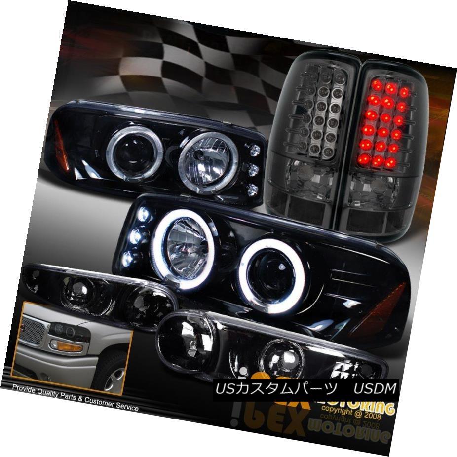 ヘッドライト 00-06 GMC Denali Projector Shiny Black Headight W/Signals + LED Smoke Tail Light 00-06 GMCデナリプロジェクターシャイニーブラックヘッドライトW /シグナル+ LEDスモークテールライト