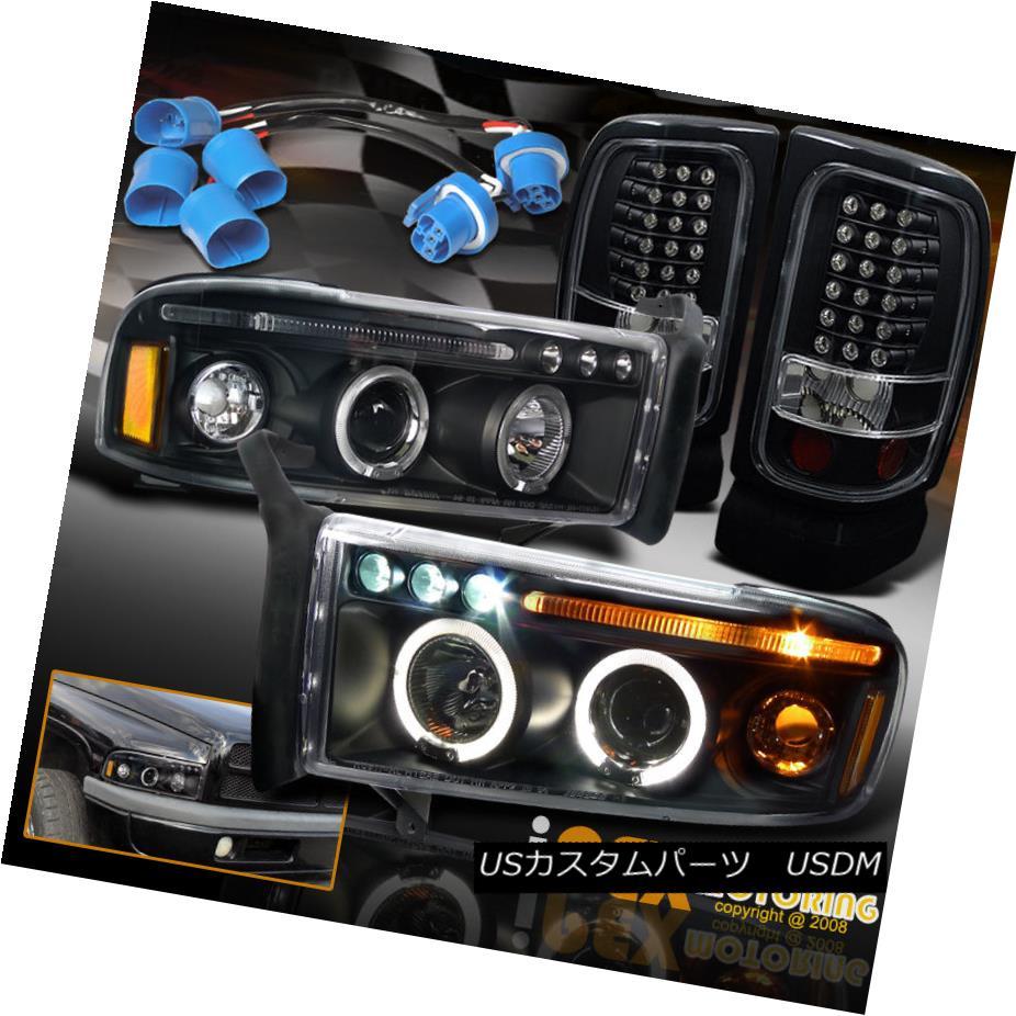 ヘッドライト For 97-01 Dodge Ram 1500 SPORT Halo Projector Headlights + LED Tail Lights Black 97-01 Dodge Ram 1500スポーツヘイロープロジェクターヘッドライト+ LEDテールライトブラック