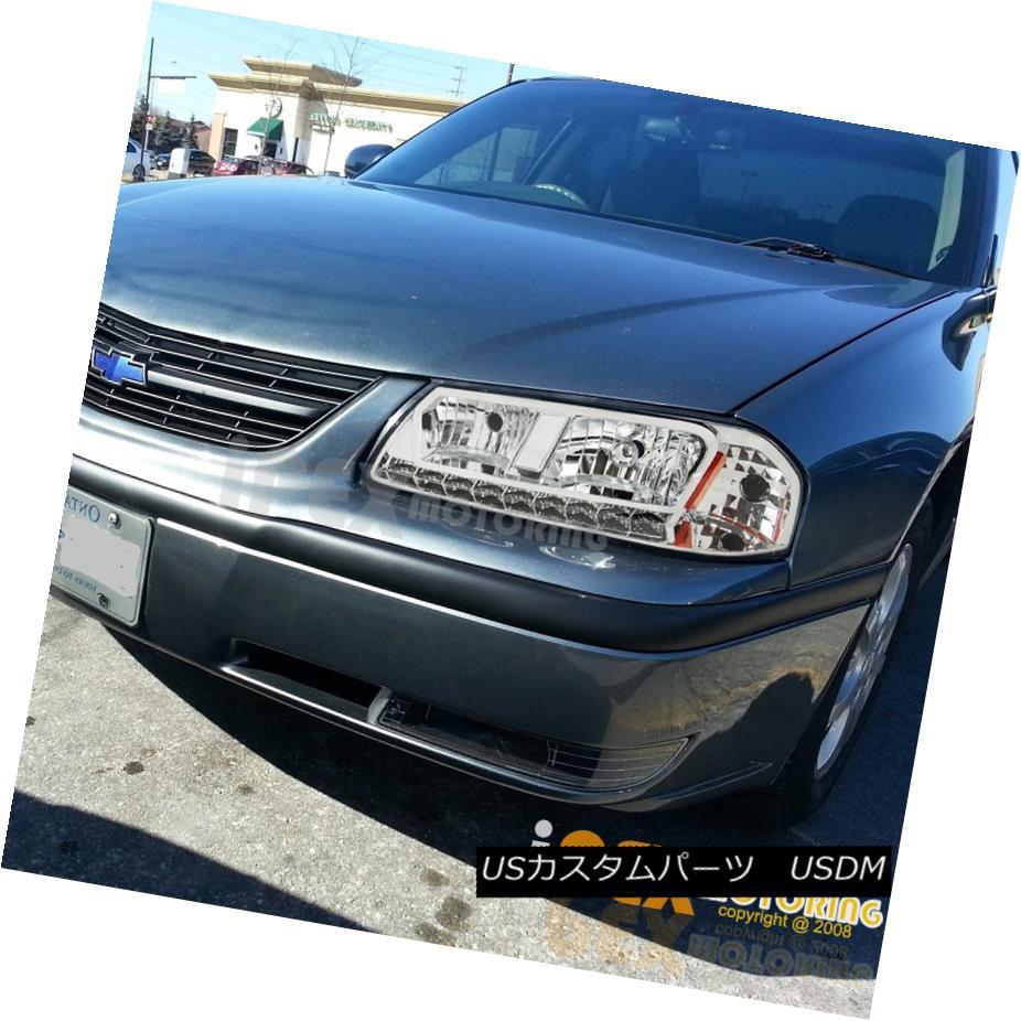ヘッドライト NEW For 2000-2005 Chevy Impala Chrome Euro Headlights W/ Bright LED DRL Lights 2000-2005シボレーインパラクロームユーロヘッドライトW /ブライトLED DRLライト用