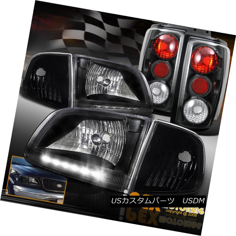 ヘッドライト (Bright LED DRL Bar ) 97-02 Ford Expedition Black Headlights +Corner+ Tail Light (明るいLED DRLバー)97-02フォード遠征ブラックヘッドライト+コーナー+テールライト