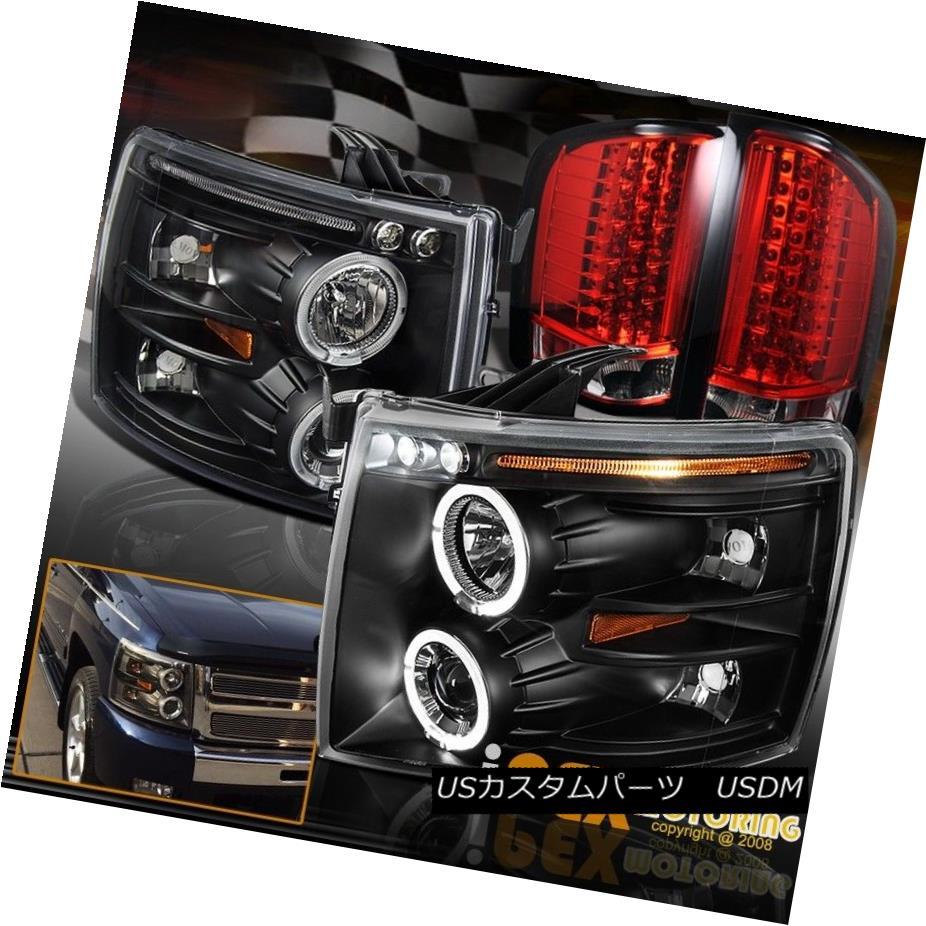 ヘッドライト 07-14 Chevy Silverado Halo Black Projector Headlights + Ultra LED Tail Light Red 07-14シボレーシルバラードハローブラックプロジェクターヘッドライト+ウルトラLEDテールライトレッド