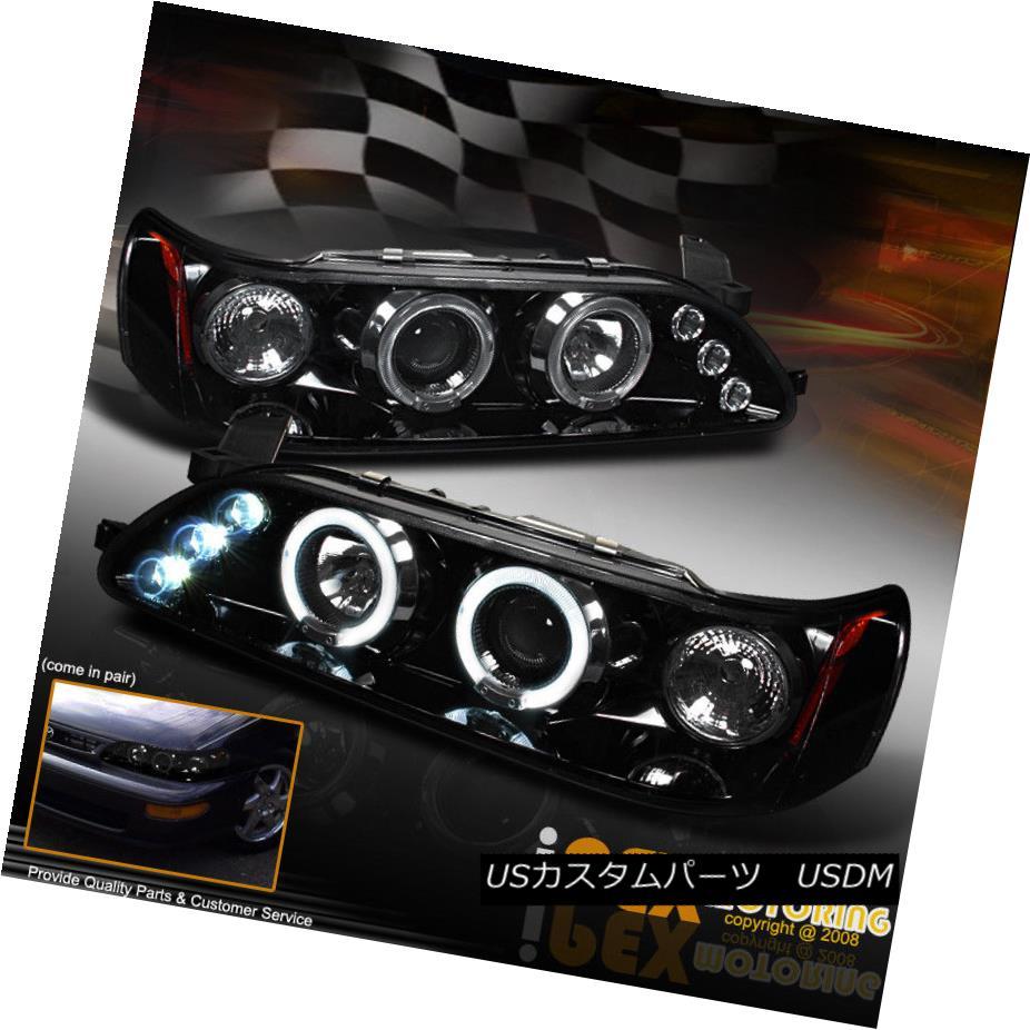 ヘッドライト NEW 1993-1997 Toyota Corolla Dual Halo Projector LED Headlights Shiny Black NEW 1993-1997トヨタカローラデュアルハロープロジェクターLEDヘッドライトシャイニーブラック