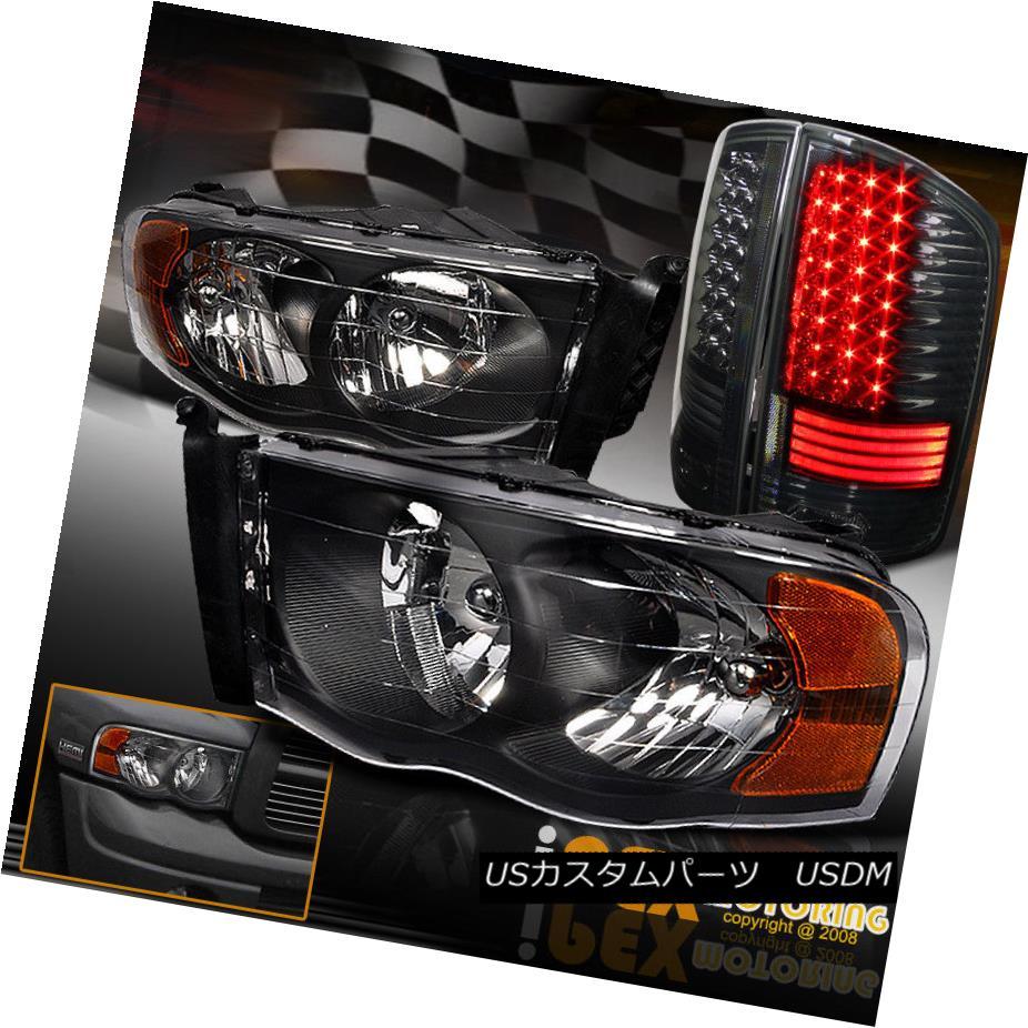 ヘッドライト 2002-2005 Dodge Ram 1500 2500 3500 Black Headlights + Special LED Tail Lights 2002-2005 Dodge Ram 1500 2500 3500ブラックヘッドライト+特殊LEDテールライト