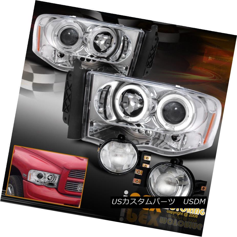 ヘッドライト NEW For 2002-2005 Dodge Ram Dual Halo Projector LED Headlight + Fog Light Chrome NEW 2002-2005ドッジランデュアルヘイロープロジェクターLEDヘッドライト+フォグライトクローム