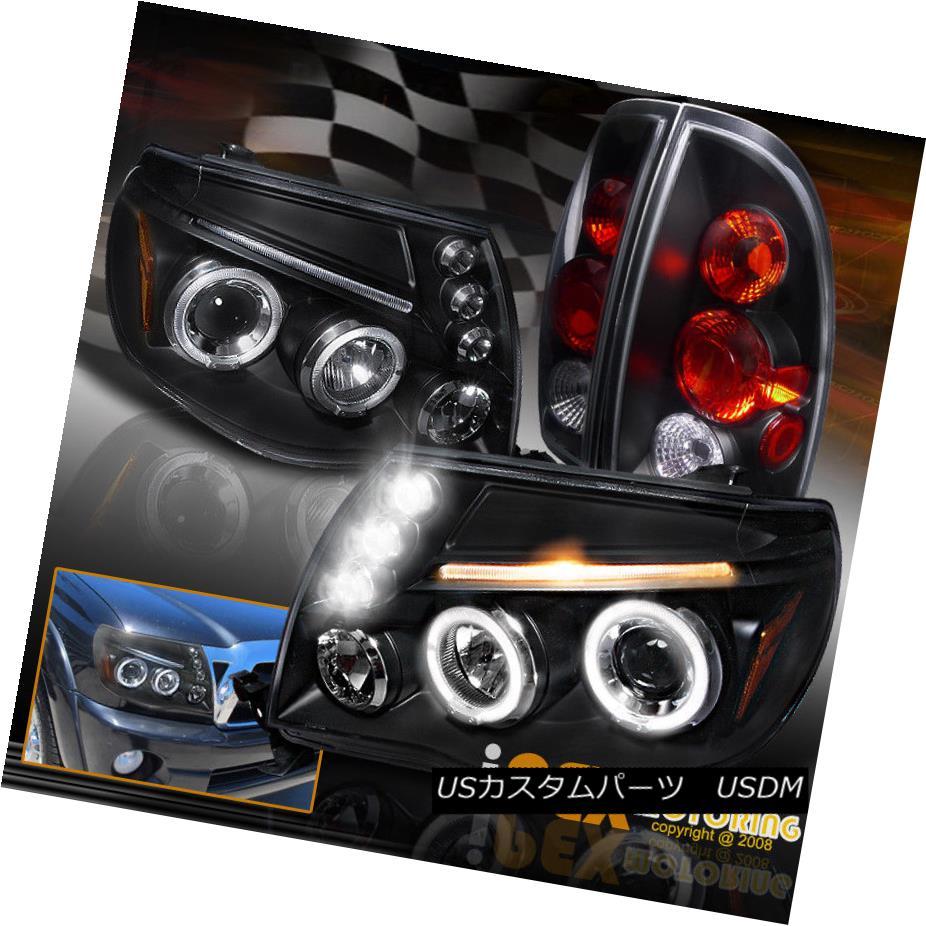 ヘッドライト 2005-2008 Toyota Tacoma Dual Halo Projector LED Headlights + Tail Lights Black 2005-2008トヨタタコマデュアルヘイロープロジェクターLEDヘッドライト+テールライトブラック
