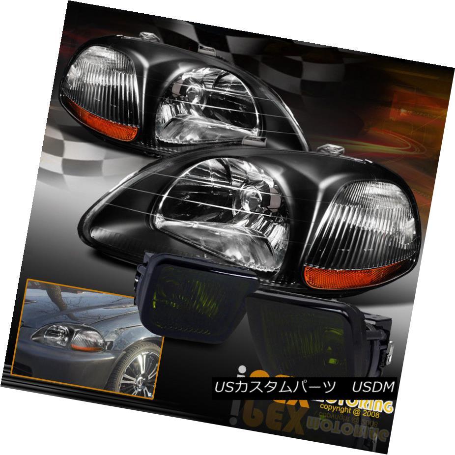 ヘッドライト NEW For 1996-1998 Honda Civic JDM Style Black Headlights + Smoke Fog Lights Lamp NEW 1996-1998ホンダシビックJDMスタイルブラックヘッドライト+スモークフォグライトランプ